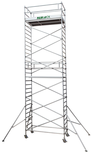 Mobile scaffold 12.09 m. Working height 135 x 180 cm.