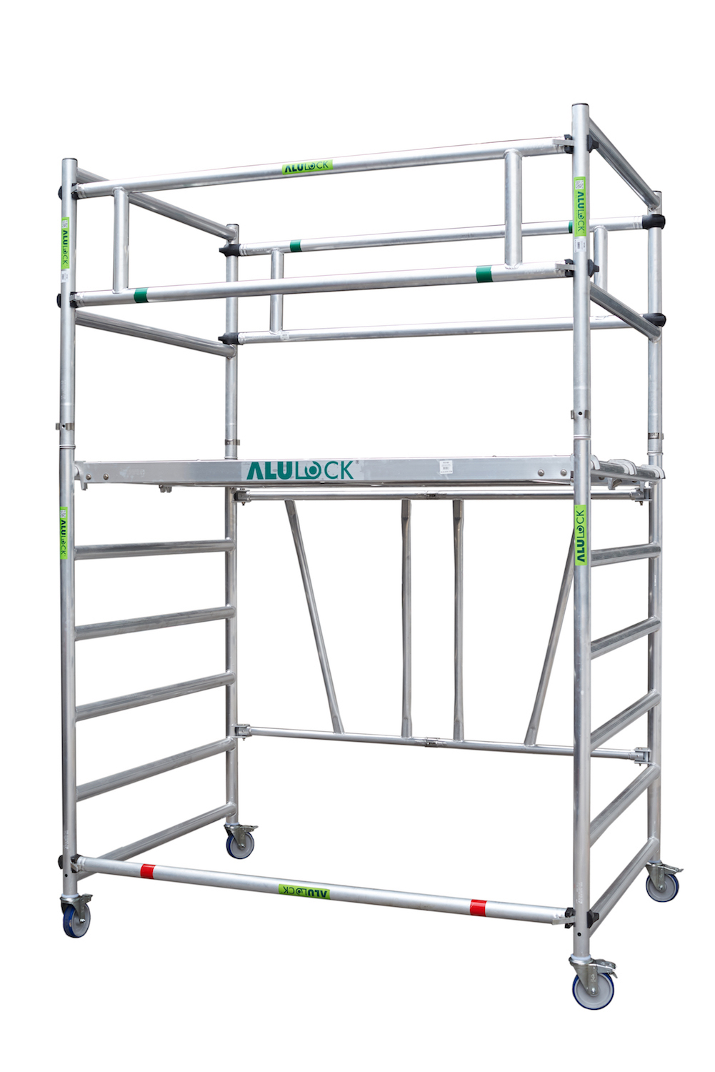 Folding Scaffold 135 x 180 cm. Working height: 3.65 m. with guardrailing