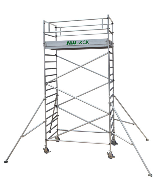 Mobile scaffold 6.21 m. Working height 75 x 180 cm.