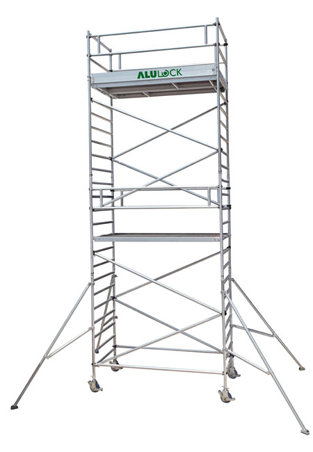 Mobile Scaffold  8.17 m. Working height 75 x 180 cm.