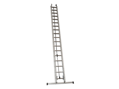 Aluminium extension ladder. Rope operated