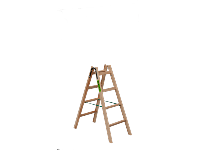 Wooden trestle ladder 2 x 4 steps BUDGET