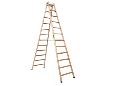Wooden trestle ladder 2 x 12 steps SUPER PROFF