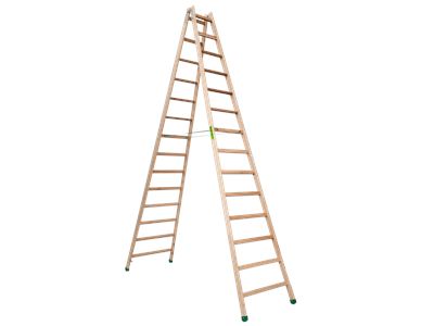Wooden trestle ladder 2 x 14 steps SUPER PROFF